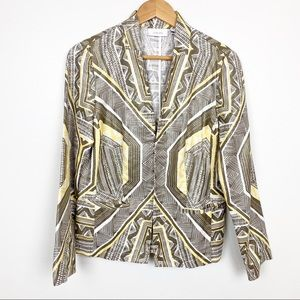 Chico's Jacket Brown & Yellow Print Blazer Style